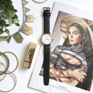 Black Leather Strap Watch , Rose Gold Trim